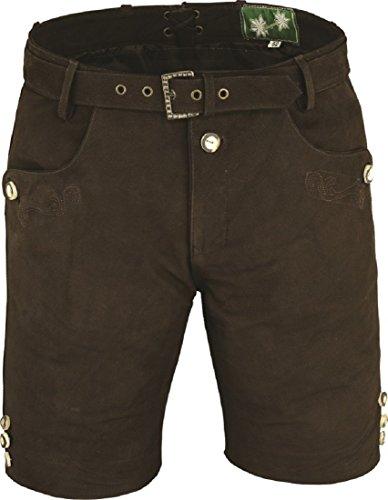 Lederhose mit Gürtel, echt Leder Nubuk Trachten Lederhose Herren kurz, Damen Trachtenlederhose mit Gürtel in Braun Braun