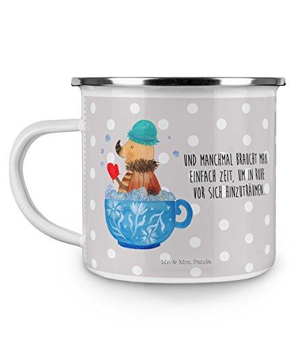 Mr. & Mrs. Panda Metall-Tasse, Trinkbecher, Camping Emaille Tasse Nachtfalter Schaumbad mit Spruch - Farbe Grau Pastell
