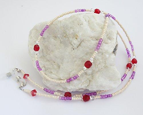 Brillenband/Brillenkette aus Glasperlen Champagner-Orchidee-rot BR-4390