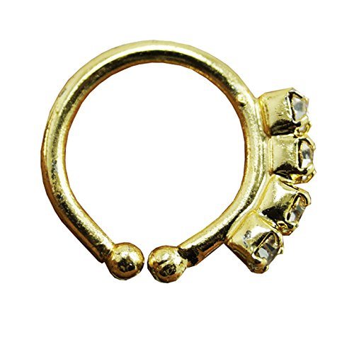 PCM Antique Plain 925 Sterling Silver Gold Plated Nose Pin For Women
