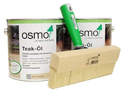 OSMO AB.Bauconcept GbR© Kombiangebot Teak-Öl Farblos 007 5 Liter Fußbodenstreichbürste 220 mm