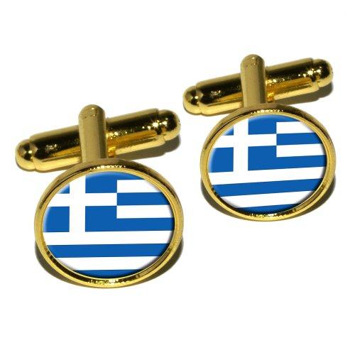 Griechische Flagge rund Manschettenknopf Set–Gold