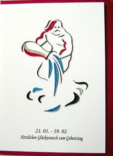 Quilling 3D Grußkarte Handgemachte Karte Sternzeichen Wassermann - Wassermann Geburtstag Karte