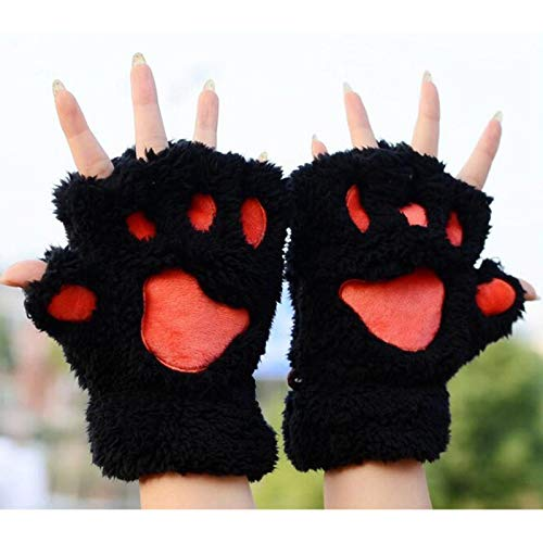 ZHANGYUGEGE Warme Mädchen Bear\'s Paw Fäustling Furry Fuzzy Thicking halben Finger Handschuhe Fausthandschuhe niedlich, Schwarz