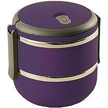 Lunch box ronde double paroi - intérieur inox extérieur aubergine 2 compartiments - BAUMALU
