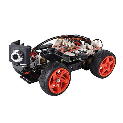 SUNFOUNDER Smart Video Car Kit V2.0 Raspberry Pi 4 Model B 3B+ 3B 2B Graphical Visual Programming Language Remote Control by UI on Windows Mac and Web Browser Electronic Toy with Detail Manual