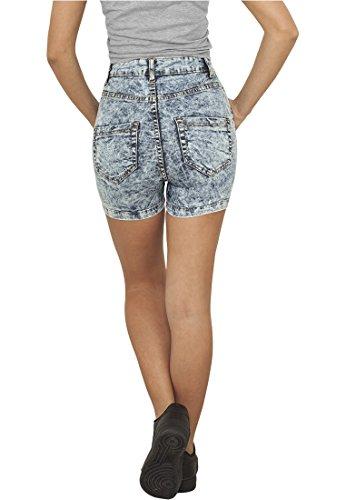 Ladies Vita Alta Denim Skinny Pantaloncini blu
