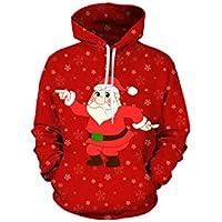 FOOBRTOPOO Novedad Navidad Sudadera con Capucha de Navidad Suéteres Papá Noel Impresión Pareja Suéter Otoño Invierno Sudadera Outwear -XXXL