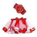 Xmiral Disfraz Carnaval para Niñas Conjuntos de Falda Tutu con Diadema Floral Skirt para Danza Fiesta Actuaciones Cosplay(Magenta,6-10 años)