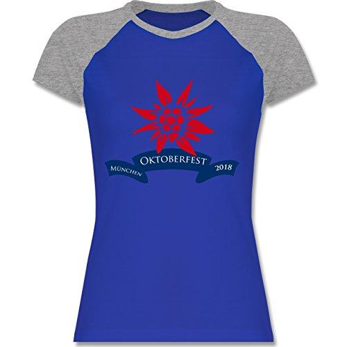 Shirtracer Oktoberfest Damen - Oktoberfest Edelweiss 2018 - Zweifarbiges Baseballshirt/Raglan T-Shirt für Damen Royalblau/Grau meliert