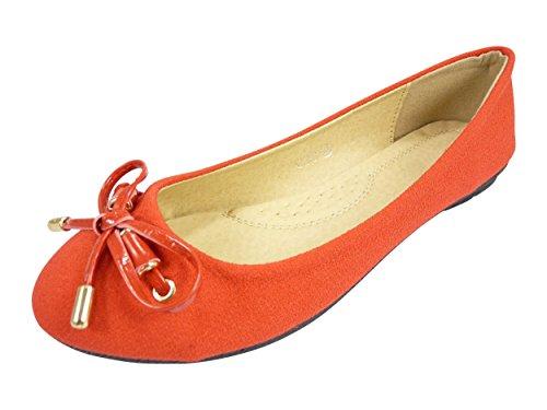 Ballerines chaussures femme tissu, toile et noeud vernis Rouge
