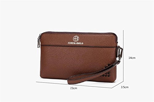 LDMB Damen-handtaschen Männer echtes Leder-große Kapazitäts-Geschäfts-elegante Mappen-Mehrfarben-Geldbeutel-beiläufige lange abnehmbare wasserdichte Handtasche coffee color