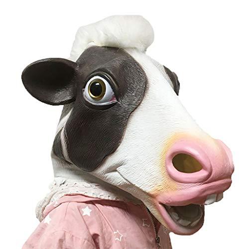 Kreative Skurrile Erwachsene Horror Maske Halloween Weihnachtsfeier Latex Kuh Kopfbedeckungen DIY Cosplay Requisiten (Erwachsenen Dinosaurier-kostüm Diy)