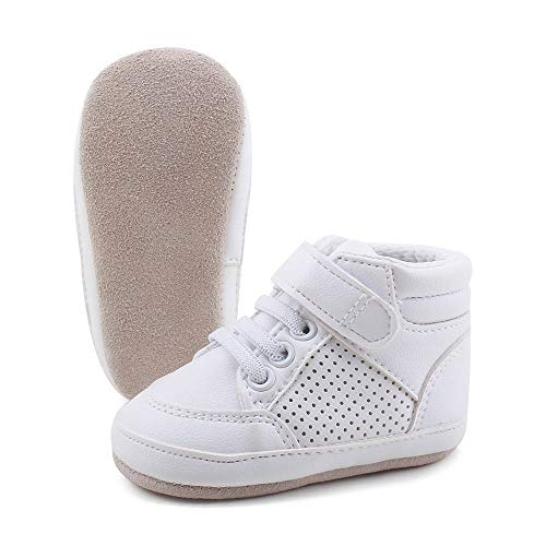 OOSAKU Baby Boys Girls Soft Suede Leather Sole High Top Sneakers Infant Prewalker Toddler Shoes