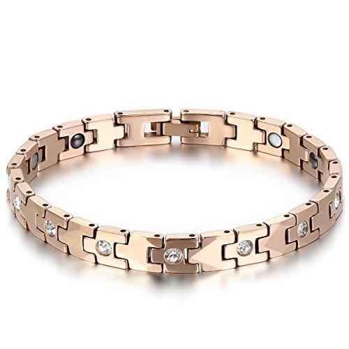 JewelryWe Schmuck Magnet Therapie Kugel Perle Perlen Wolframcarbid Wolfram Armband Link Handgelenk Strass Rose Gold Poliert Damen