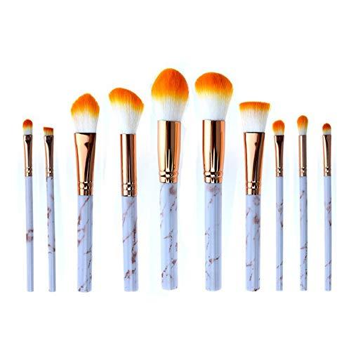 Cdet. 10Pcs Kit De Pinceau Maquillage en Visage et Oeil avec Cosmétiques Brush Ensemble Fondation Mélange Blush Yeux Poudre Brosse Make Up Style Série de marbre Orange doré