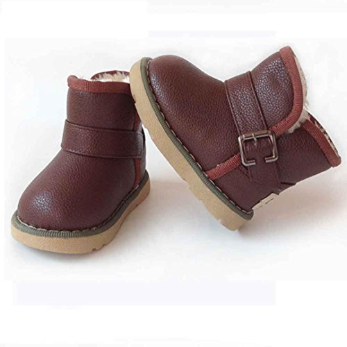Schuhe Longra Mädchen Jungen Schneestiefel Baumwolle Lederschuhe winterschuhe Kinder Martin Stiefel warme Schuhe(1-6 Jahre) Brown