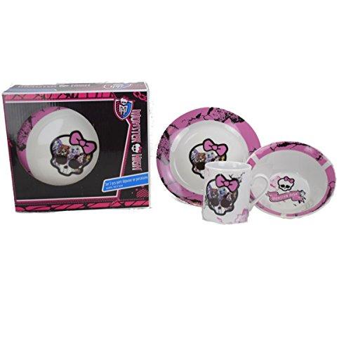 Monster High Mädchen 3 Stück Ceramic Frühstücks-Set - Skull (8 Stück Frühstücks-set)