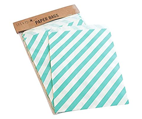 25 Party Striped Paper Bag / Candy Sweet Gift , 13x18cm , Birthday & Wedding - Green