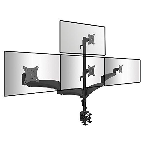 Duronic dm453vx1Solide Quad Vier LCD-LED-Schreibtisch Mount Arm Monitorständer Halterung mit Tilt- und Swivel (Tilt-90°/+ 45° | Dreh 180° | 360° | bis 68,6cm) + 10Jahre Garantie