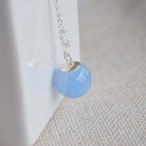 Antarktische Liebe Blauer Leuchtendes Stein Glühen im Dunkeln Wasser 925 Sterling Silber Halskette 45cm Länge