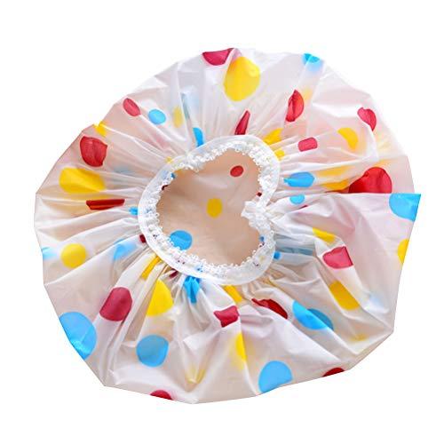 Frcolor 12 pcs bonnet de douche vogue élastique en plastique imperméable cheveux de bain dame salon chapeau (couleur aléatoire)
