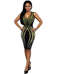 Yogogo Femmes Robe moulante col en V manches Stripe Imprimer Slim Fit Paquet Hip Robe