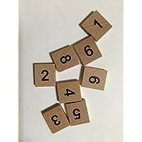 Rainbow 7 Creations - Piezas de madera para Scrabble, 50 números (5 de cada uno, del 0 al 9)