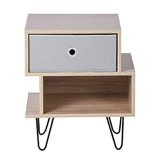 Aingoo Vintage Kommode mit Schubladen,Nachttisch inkl.1 herausnehmbare Schubladen,Nachtkonsole Nachtkommode Schrank für Schlafzimmer Wohnzimmer-Holz (2 Schubladen)