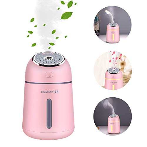 Umidificatore Ambiente Bambini, Portatile 330ml USB Mini Umidificatore ad Ultrasuoni con Ventola e LED Umidificatore Silenzioso del Bambino con 2 Modi (rosa)