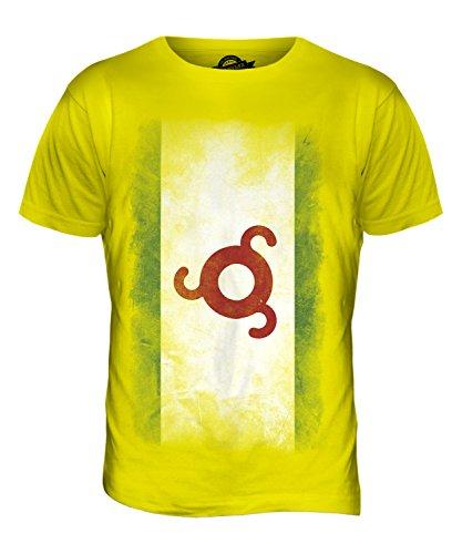 CandyMix Ingushetia Verblichen Flagge Herren T Shirt Zitronengelb