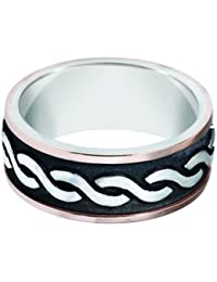 Sterling Silver 14ct Rose Gold, Celtic Twist Antique Carved Band 8.5MM (sz H to Z3)