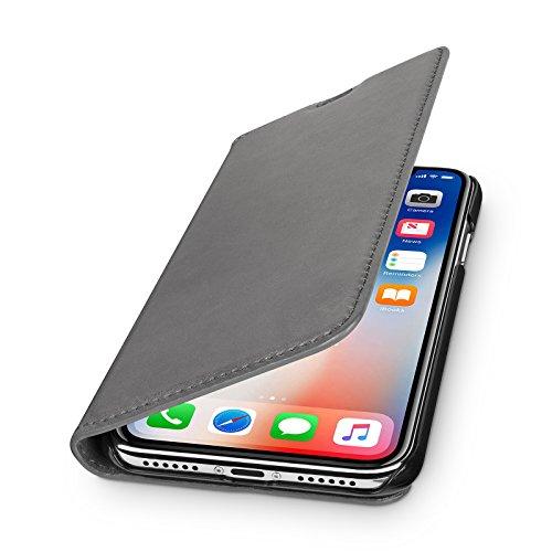 WIIUKA Echt Ledertasche - TRAVEL Nature - für Apple iPhone X und XS -DEUTSCHES Leder- Vintage Grau, kabelloses Laden Qi, mit Kartenfach, extra Dünn, Tasche, Leder Hülle kompatibel mit iPhone X/XS