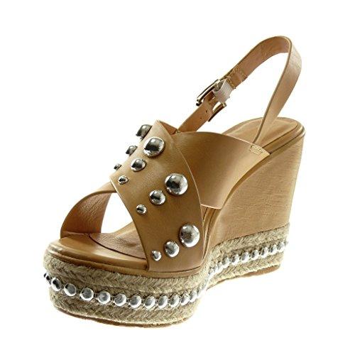 Angkorly Chaussure Mode Sandale Mule Lanière Cheville Plateforme Femme Perle Clouté Bois Talon Compensé Plateforme 10 CM Camel
