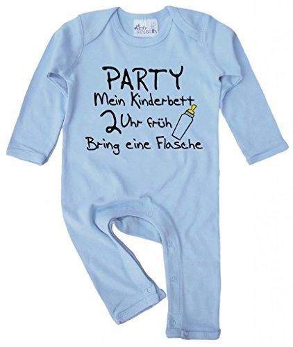 Dirty Fingers, Party Mein Kinderbett 2 Uhr früh, Baby Strampler, 3-6 m, Hellblau -
