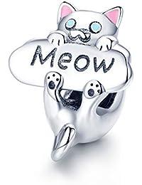ENYU Charms Bead Gato,Mujeres Charm Abalorios Pandora Joyería Silver Plated Gato Animal Vintage Bracelets Cat Accessories Best Gift