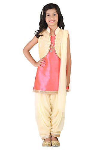 Qeboo Cream and Pink Beautiful Punjabi Suit for Every Function/Occasion for Girls