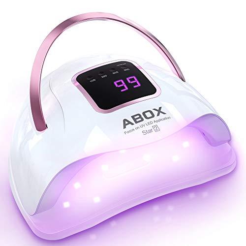 abox lampada led unghie 72w 36pcs luce uv led per gel semipermanente unghie, 4 timer preimpostati (10s, 30s, 60s, 99s), sensore automatico, lampade uv portatile fornetto unghie