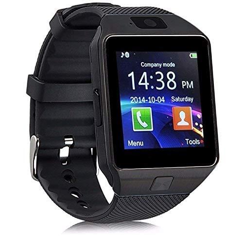 CanMixs Smartwatch DZ09 Bluetooth 3,0 Mutifunktionale Armbanduhr, unterstützt SIM & TF-Karte, mit Kamera Schrittzähler Anti-Lost Tracker Stoppuhr Nachricht Kalender für Android Phones (Black)