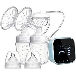 Tire lait electrique, SUMGOTT Rechargeable Double tire-lait pour aspiration du lait maternel et massage du sein