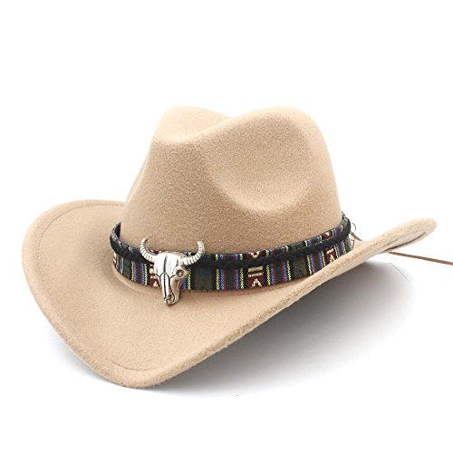Unbekannt Hut- Mode Frauen Männer Western Cowboy Hut Dame Jazz Cowgirl Sombrero Caps (Farbe : Khaki, Größe : 56-58CM)