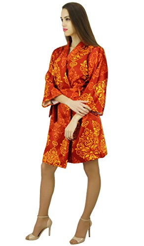 Amoghah Short Baumwolle Satinrobe Getting Ready Bridesmaid Coverup Geschenk Rote und orange