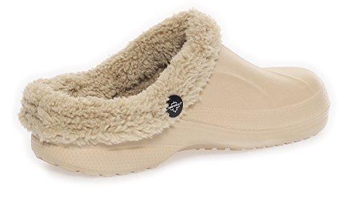 cleostyle da Donna Ragazza Zoccoli Ciabatte da Bagno Pelo Pantofole Invernali 292 Beige
