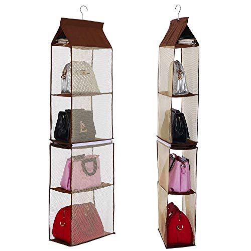 Space-saving Storage-systeme (Stangent Detachable 4 compartment storage bag storage bag tote bag storage bag transparent wallet storage storage rack wardrobe closet space saving storage bag (brown))
