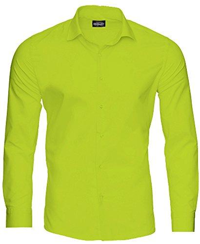 Reslad Herren Hemd Slim Fit Bügelfrei Freizeithemd Businesshemd Hochzeit Männer Hemden Anzug Uni Langarm Neu RS-7002 Grün S (Body-slim-fit-hemden)