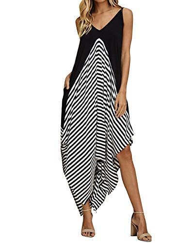 Style Dome Sommerkleid Damen V Ausschnitt Ärmellos Maxi Asymmetrisch Strand Gestreift Kleid mit Taschen Schwarz-998448 XL