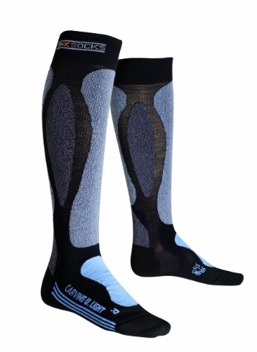 X-Socks Funktionssocken Ski Carving Ultra Light Lady, Black/Sky Blu, 39/40, X020329 (Ski-socken Ultralight)