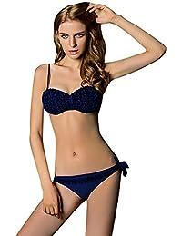 Dehang - Maillot de Bain Femme Bikini 2 pièces Fluo Bandeau à Franges Push Up - Couleurs et Tailles au choix