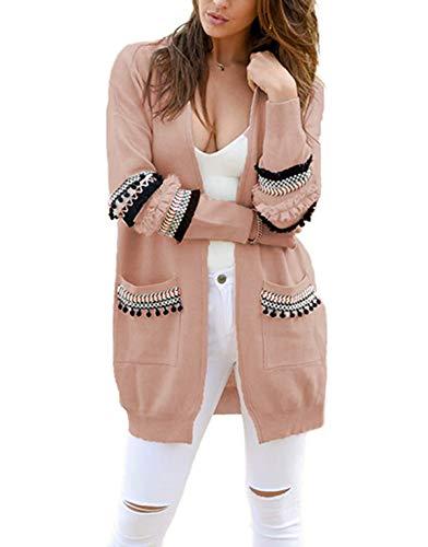Ajpguot Strickjacke Damen Lang Mäntel Casual Langarm Cardigan Boho Patchwork Outwear Lose Coat mit Taschen, Herbst und Winter, Rosa, XL