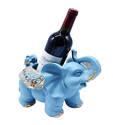 FENG-XIANG-HANG Neue Kreative Elefanten Weinregal Europäischen Wohnzimmer Bar Weinschrank Hause Lagerregal Dekoration (Color : Blue) - Rack Hat Blue Wall
